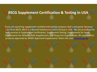 Supplement Certification and World Anti Dopping Expert