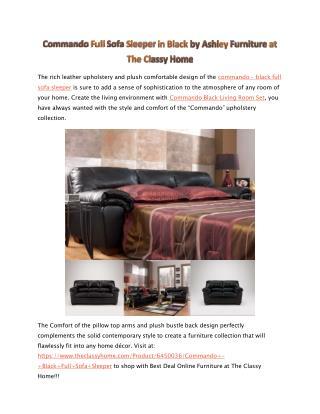 Signature Design By Ashley Commando - Black Full Sofa Sleepe