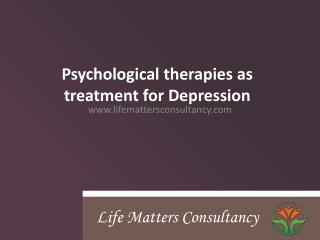 Psychological Treatment for Depression in London
