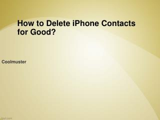 How to Erase All Contacts from iPhone 5S/5/4S/3GS without Re