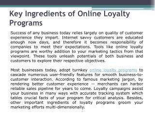 Online Loyalty Programs