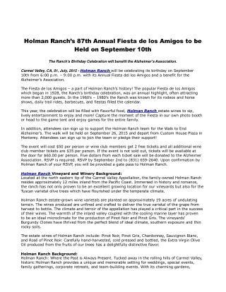 Holman Ranch's 87th Annual Fiesta de los Amigos