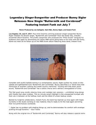 Legendary Singer-Songwriter and Producer Bunny Sigler