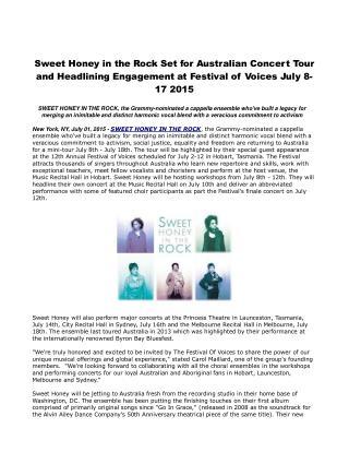 Sweet Honey in the Rock Set for Australian Concert Tour