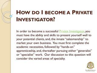 How Do I Become A Private Investigator?