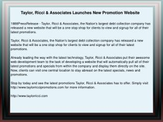 Taylor, Ricci & Associates Launches New Promotion Website