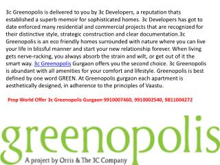 3c Greenopolis 9910007460 ,9811004272 3c Greenopolis Gurgaon