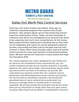 Dallas Fort Worth Pest Control Services