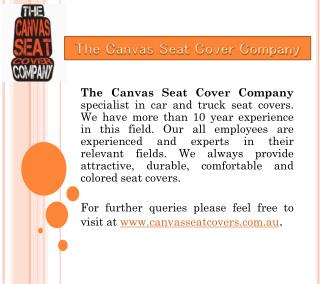 The Canvas Seat Cover Company in Australia