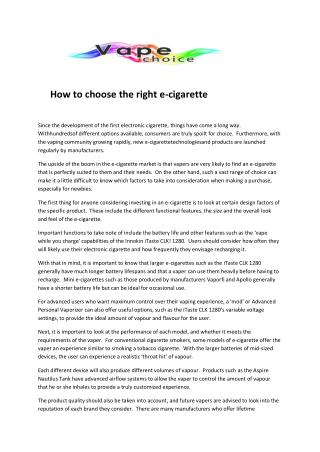 How to choose the right e-cigarette