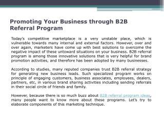 B2B Referral Program Ideas