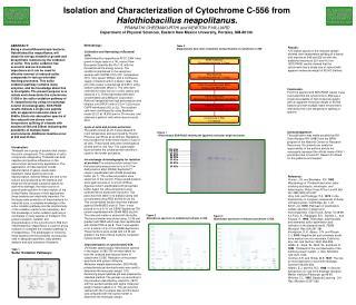 Isolation and Characterization of Cytochrome C-556 from Halothiobacillus neapolitanus. PRANATHI CHEEMAKURTHI and NEWTON