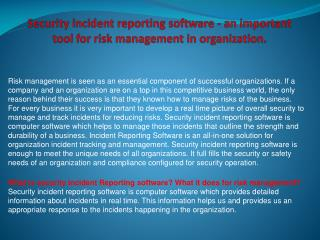 Security incident reporting software - an important tool for