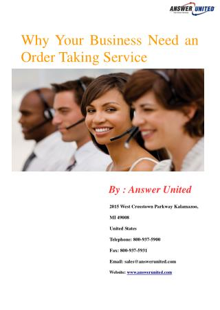 Why Your Business Need an Order Taking Service