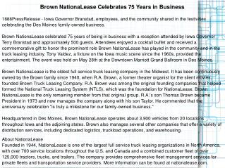 Brown NationaLease Celebrates 75 Years in Business