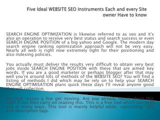 Five Ideal WEBSITE SEO Instruments Each and every