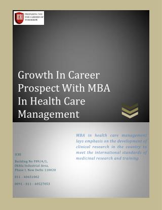 MBA in Health Care Management, Clinical Research Institute