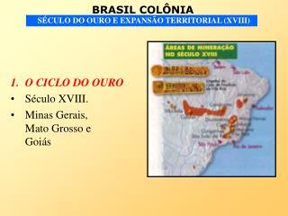O CICLO DO OURO S culo XVIII. Minas Gerais,          Mato Grosso e         Goi s