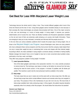 Get Best for Less With Maryland Laser Weight Loss by Stephen