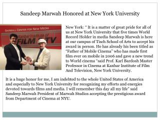 Sandeep Marwah Honored at New York University