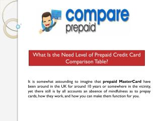 What Is the Need Level of Prepaid Credit Card Comparison Tab