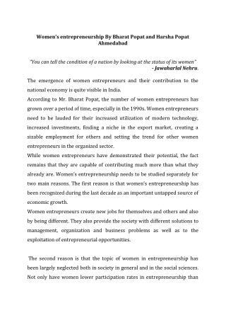 Women's entrepreneurship By Bharat Popat and Harsha Popat Ah