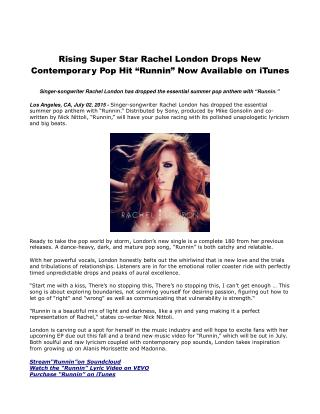 Rising Super Star Rachel London Drops New Contemporary Pop