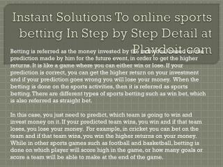 Instant Solutions To online sports betting In Step by Step D