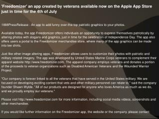 'Freedomizer' an app created by veterans available now