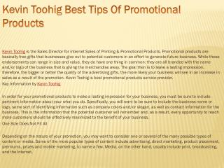 Kevin Toohig Best Tips Of Promotional Products