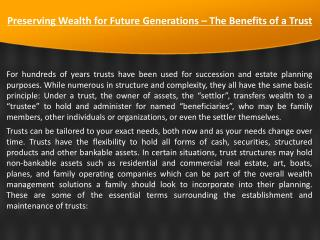 Preserving Wealth for Future Generations – The Benefits of a