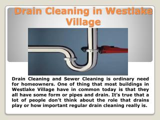 Drain Cleaning in Westlake Village