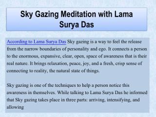 Sky Gazing Meditation with Lama Surya Das