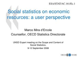 Social statistics on economic resources: a user perspective