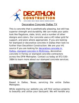 Decorative Concrete Dallas TX
