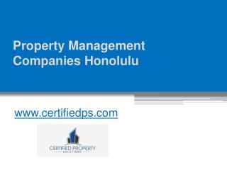 Property Management Companies Honolulu - Call at (808) 224-0