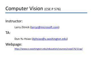 Computer Vision CSE P 576