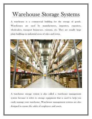 Warehouse Storage Systems