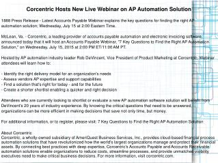 Corcentric Hosts New Live Webinar on AP Automation Solution