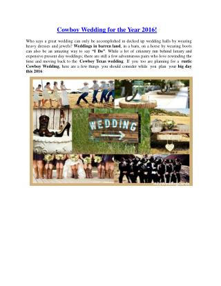 Cowboy wedding for the year 2016