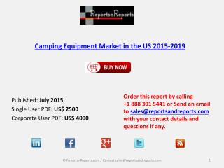 Camping Equipment Market in US 2019 – Key Vendors Research