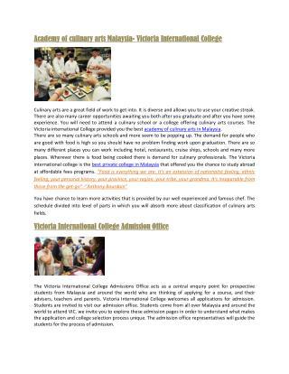 Academy of Culinary Arts Malaysia-VIC