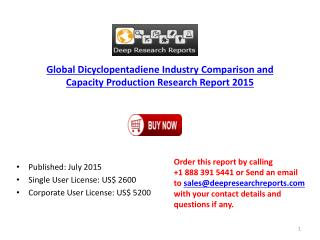 Global Dicyclopentadiene Industry Import Export Consumption