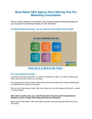 Boca Raton SEO Agency Now Offering Free Consultation