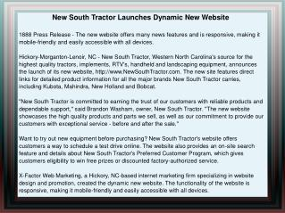 New South Tractor Launches Dynamic New Website