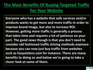 The Main Benefits Of Buying Targeted Traffic For Your Websit