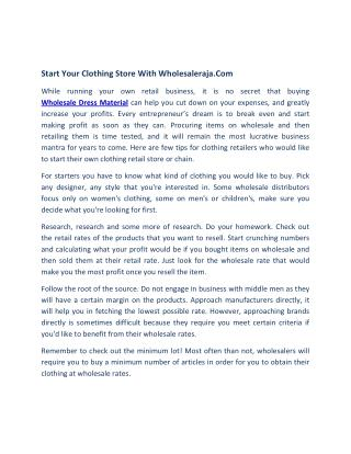 Start your clothing Store with Wholesaleraja.com