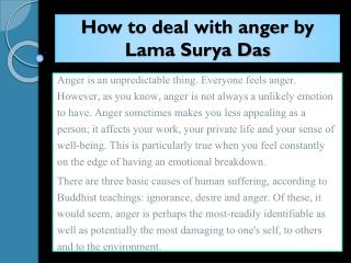 How to deal with anger by Lama Surya Das