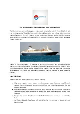 Role of Ship Brokers in the Growth Trends in the Shipping In