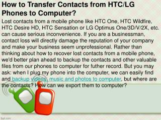 How to Transfer Contacts from HTC/LG Phones to Computer